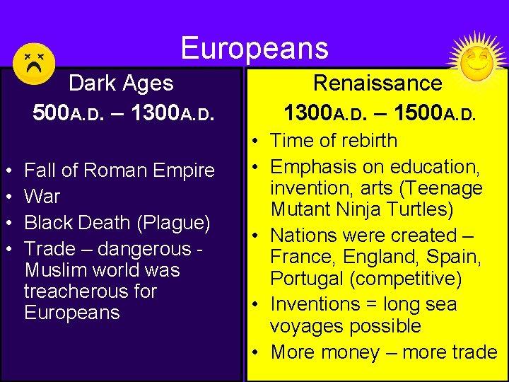 Europeans • • Dark Ages 500 A. D. – 1300 A. D. Renaissance 1300
