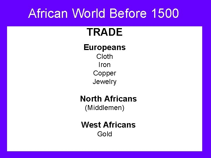 African World Before 1500 TRADE Europeans Cloth Iron Copper Jewelry North Africans (Middlemen) West