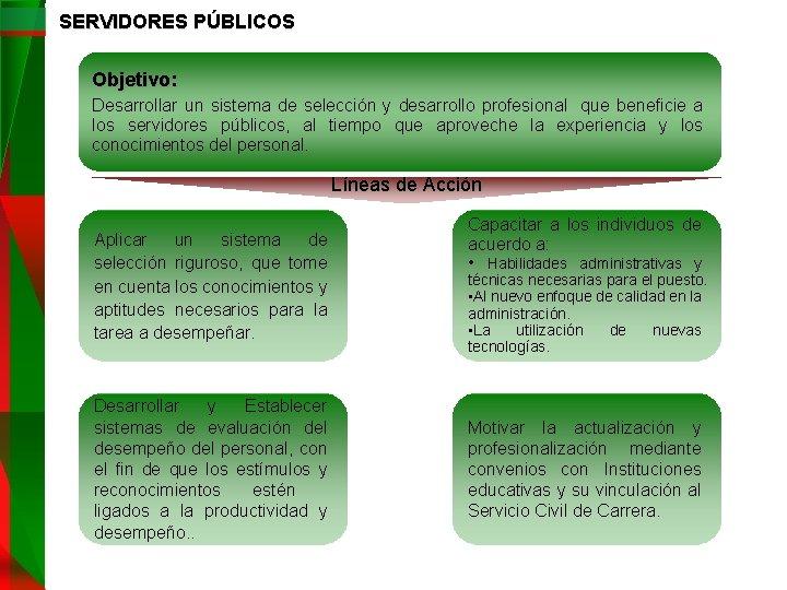 SERVIDORES PÚBLICOS Objetivo: Desarrollar un sistema de selección y desarrollo profesional que beneficie a