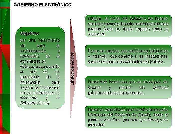 GOBIERNO ELECTRÓNICO Integrar al portal del Gobierno del Estado aquellos servicios, trámites e información