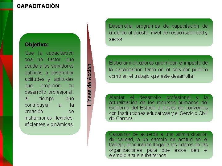 CAPACITACIÓN Desarrollar programas de capacitación de acuerdo al puesto, nivel de responsabilidad y sector.