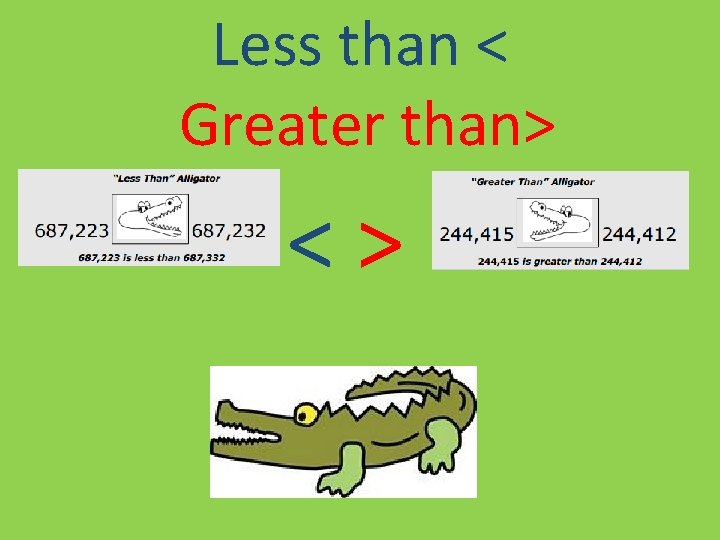 Less than < Greater than> <>