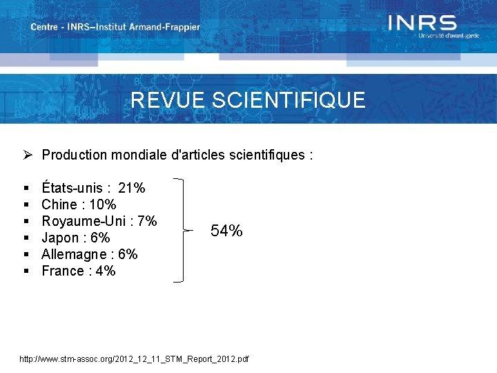REVUE SCIENTIFIQUE Ø Production mondiale d'articles scientifiques : § § § États-unis : 21%