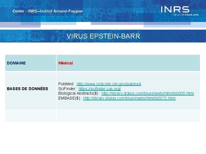 VIRUS EPSTEIN-BARR DOMAINE BASES DE DONNÉES Médical Pub. Med: http: //www. ncbi. nlm. nih.