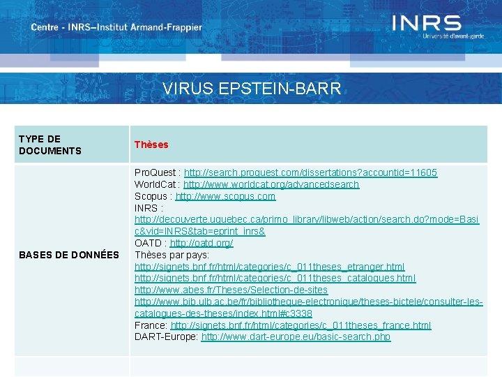 VIRUS EPSTEIN-BARR TYPE DE DOCUMENTS Thèses BASES DE DONNÉES Pro. Quest : http: //search.