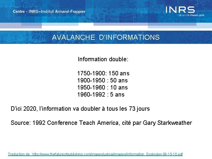 AVALANCHE D'INFORMATIONS Information double: 1750 -1900: 150 ans 1900 -1950 : 50 ans 1950