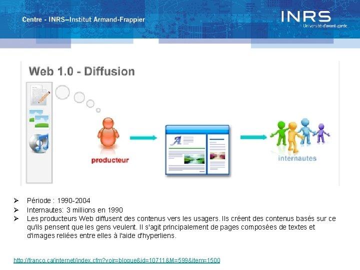 Ø Ø Ø Période : 1990 -2004 Internautes: 3 millions en 1990 Les producteurs