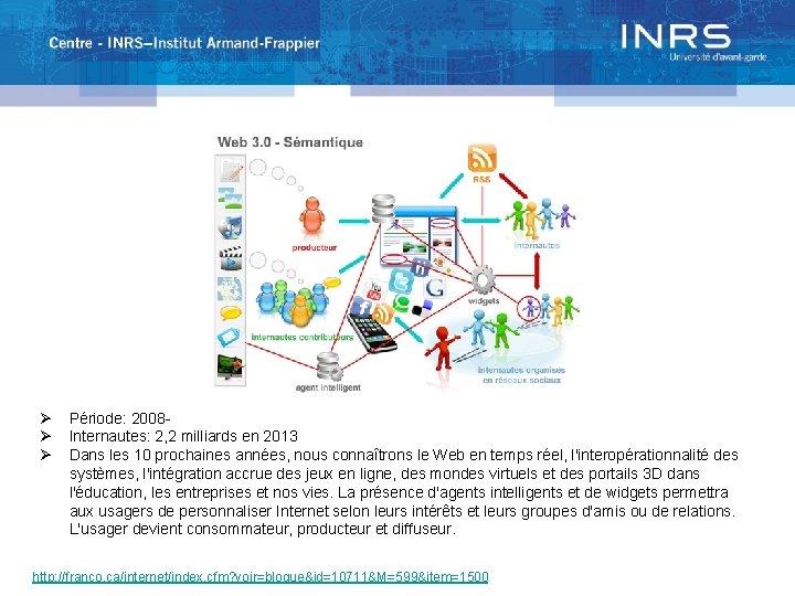 Ø Ø Ø Période: 2008 Internautes: 2, 2 milliards en 2013 Dans les 10