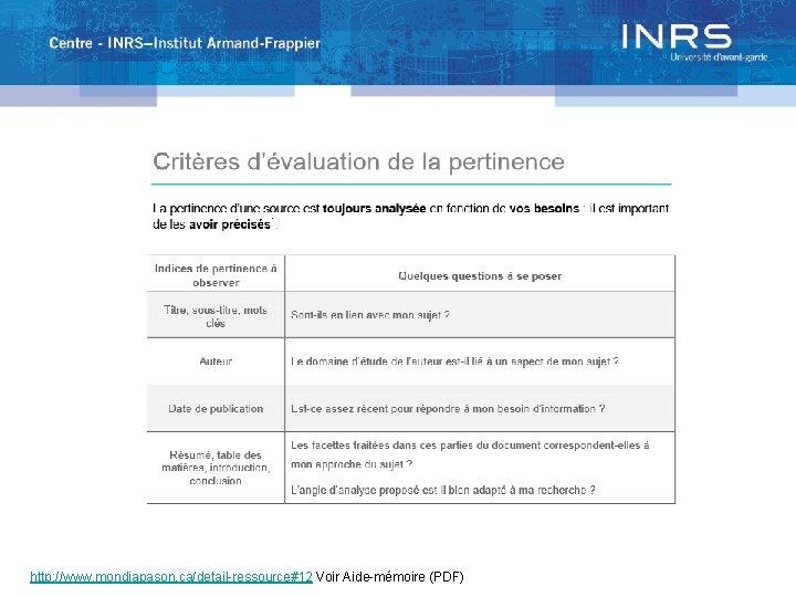http: //www. mondiapason. ca/detail-ressource#12 Voir Aide-mémoire (PDF)