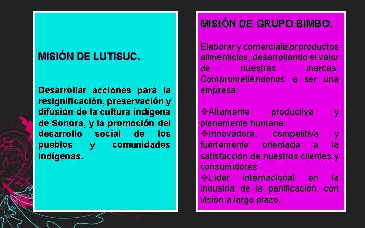 MISIÓN DE GRUPO BIMBO. MISIÓN DE LUTISUC. Desarrollar acciones para la resignificación, preservación y