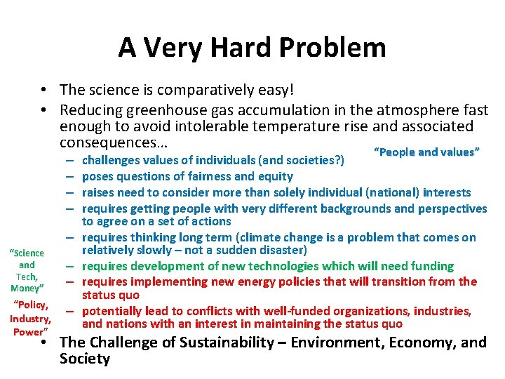 A Very Hard Problem • The science is comparatively easy! • Reducing greenhouse gas