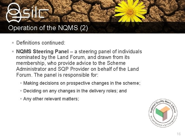 Operation of the NQMS (2) § Definitions continued: § NQMS Steering Panel – a