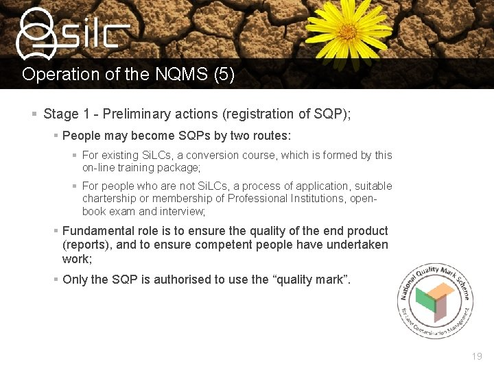 Operation of the NQMS (5) § Stage 1 - Preliminary actions (registration of SQP);