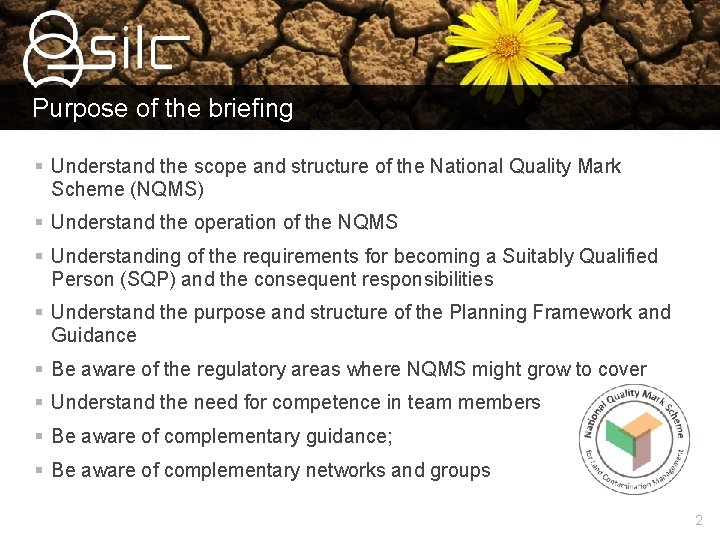 Purpose of the briefing § Understand the scope and structure of the National Quality