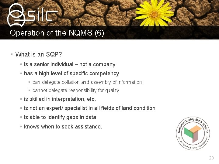 Operation of the NQMS (6) § What is an SQP? § is a senior