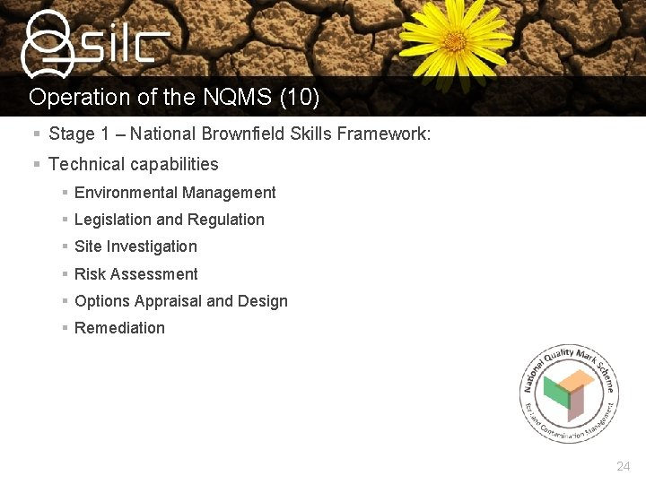 Operation of the NQMS (10) § Stage 1 – National Brownfield Skills Framework: §
