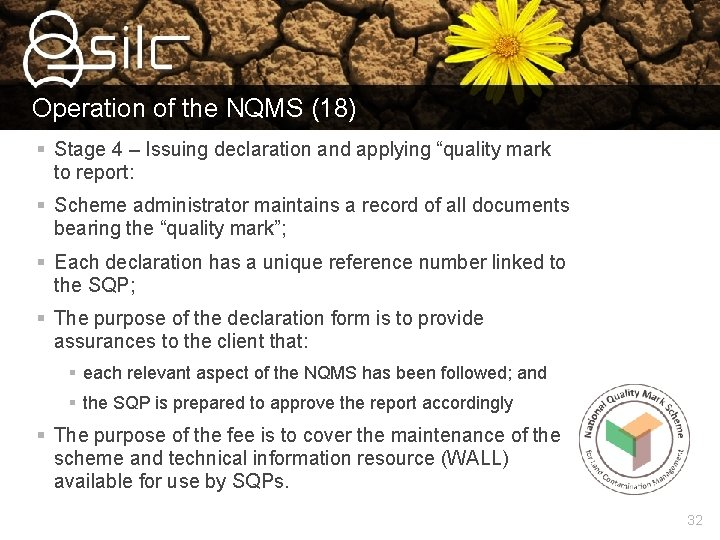 """Operation of the NQMS (18) § Stage 4 – Issuing declaration and applying """"quality"""
