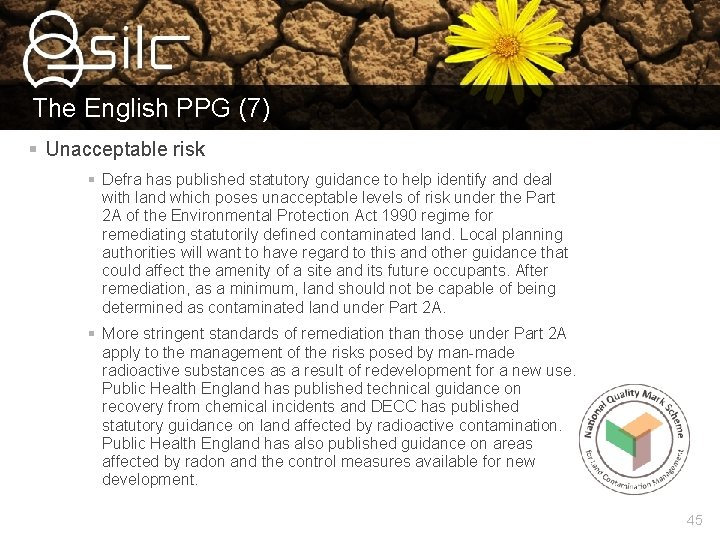 The English PPG (7) § Unacceptable risk § Defra has published statutory guidance to