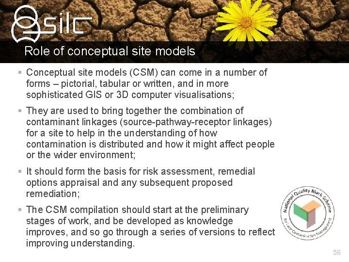 Role of conceptual site models § Conceptual site models (CSM) can come in a