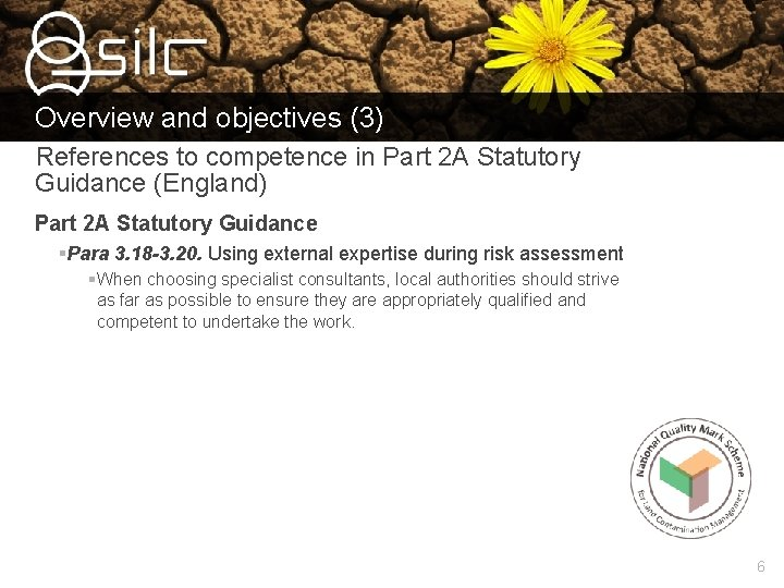 Overview and objectives (3) References to competence in Part 2 A Statutory Guidance (England)
