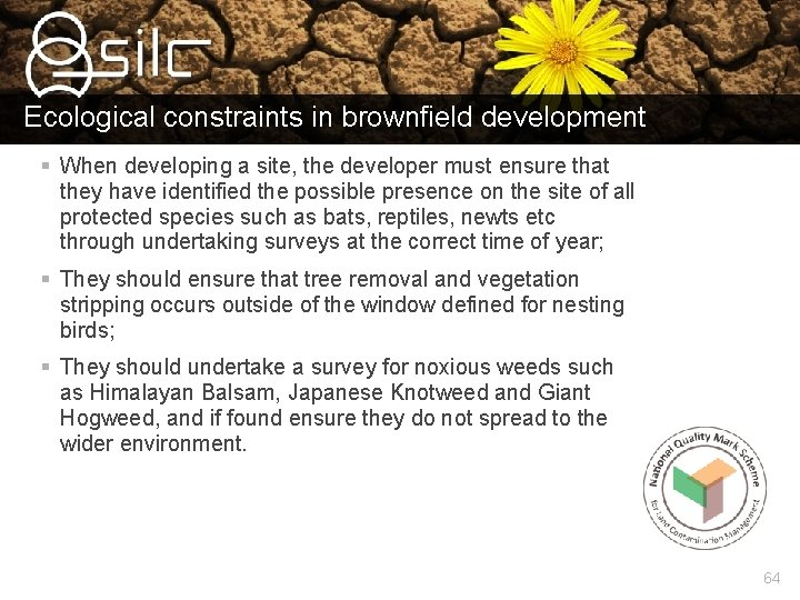 Ecological constraints in brownfield development § When developing a site, the developer must ensure