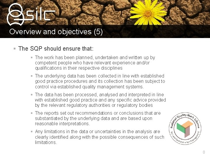 Overview and objectives (5) § The SQP should ensure that: § The work has
