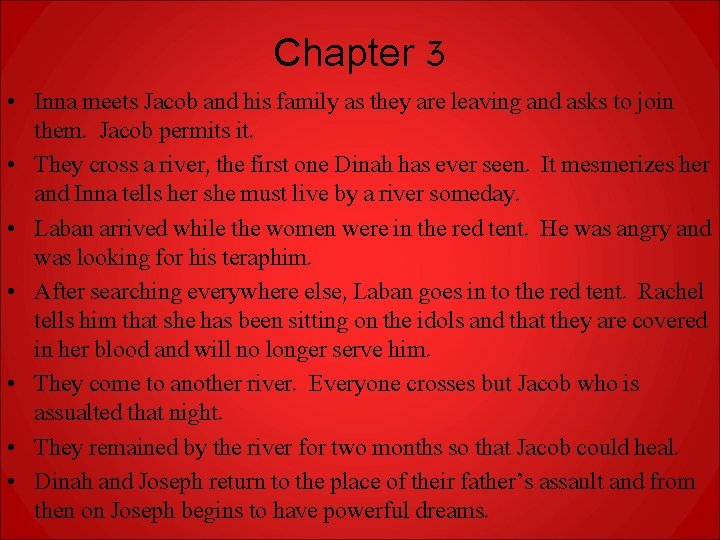 Chapter 3 • Inna meets Jacob and his family as they are leaving and