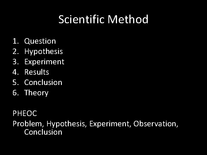 Scientific Method 1. 2. 3. 4. 5. 6. Question Hypothesis Experiment Results Conclusion Theory
