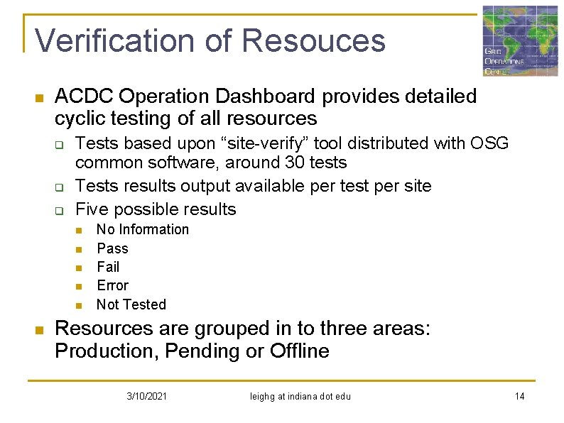 Verification of Resouces n ACDC Operation Dashboard provides detailed cyclic testing of all resources