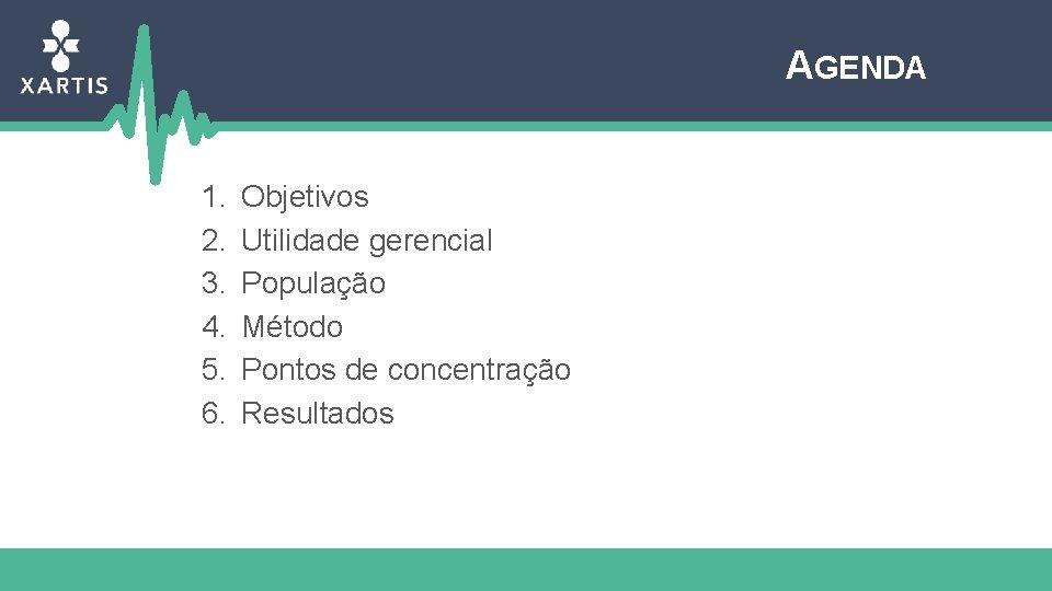 AGENDA 1. 2. 3. 4. 5. 6. Objetivos Utilidade gerencial População Método Pontos de