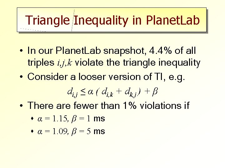 Triangle Inequality in Planet. Lab • In our Planet. Lab snapshot, 4. 4% of