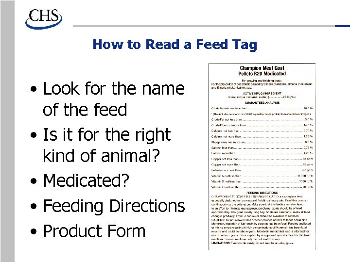 How to Read a Feed Tag • Look for the name of the feed
