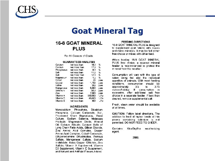 Goat Mineral Tag