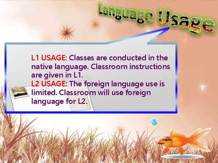 L 1 USAGE: Classes are conducted in the native language. Classroom instructions are given
