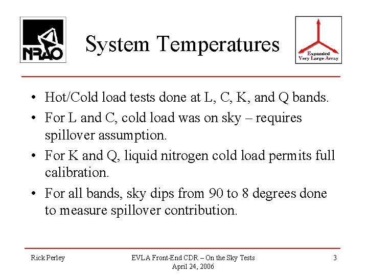 System Temperatures • Hot/Cold load tests done at L, C, K, and Q bands.