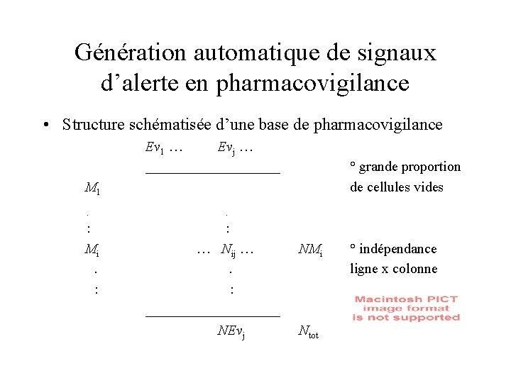 Génération automatique de signaux d'alerte en pharmacovigilance • Structure schématisée d'une base de pharmacovigilance
