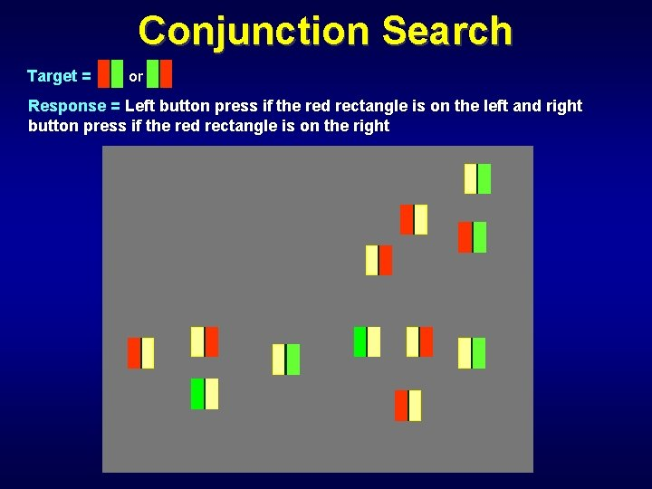 Conjunction Search Target = or Response = Left button press if the red rectangle