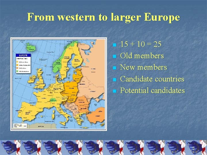 From western to larger Europe n n n 15 + 10 = 25 Old