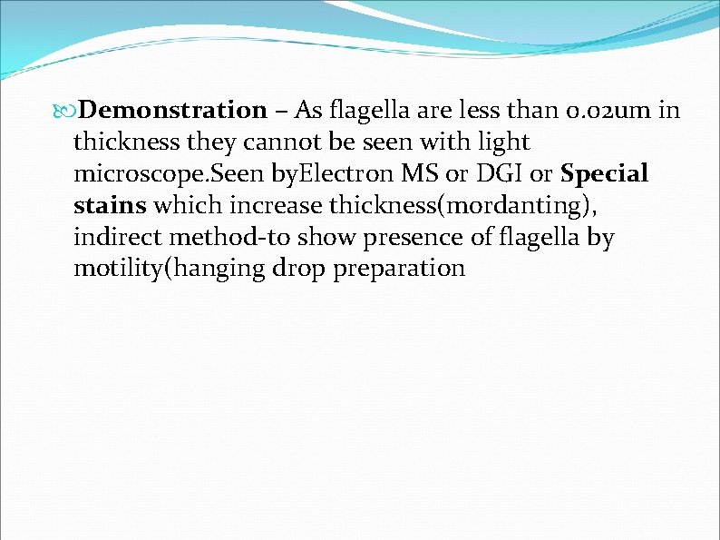 Demonstration – As flagella are less than 0. 02 um in thickness they
