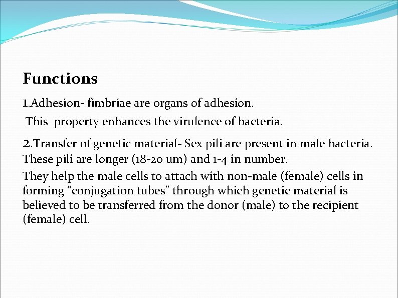 Functions 1. Adhesion- fimbriae are organs of adhesion. This property enhances the virulence of
