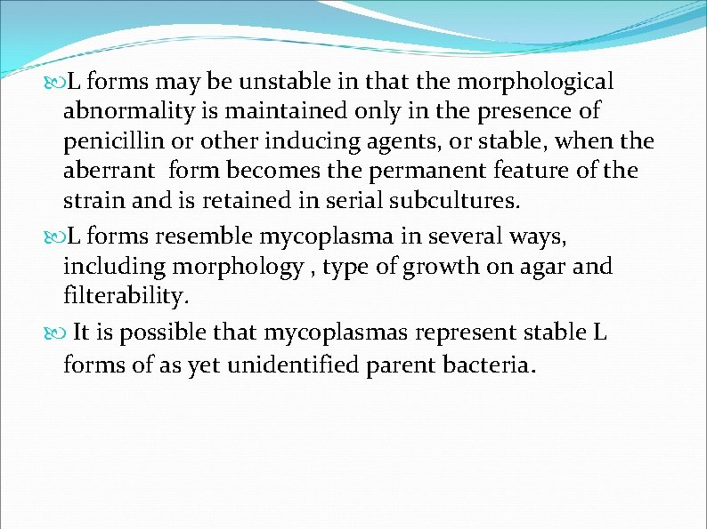 L forms may be unstable in that the morphological abnormality is maintained only