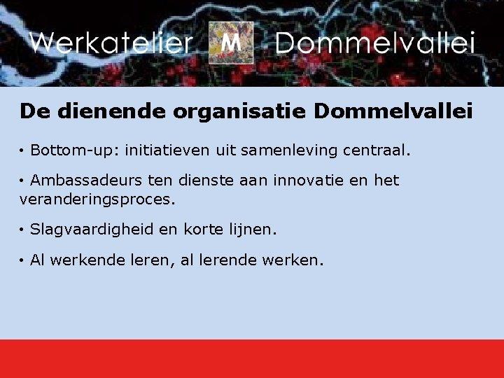 De dienende organisatie Dommelvallei • Bottom-up: initiatieven uit samenleving centraal. • Ambassadeurs ten dienste