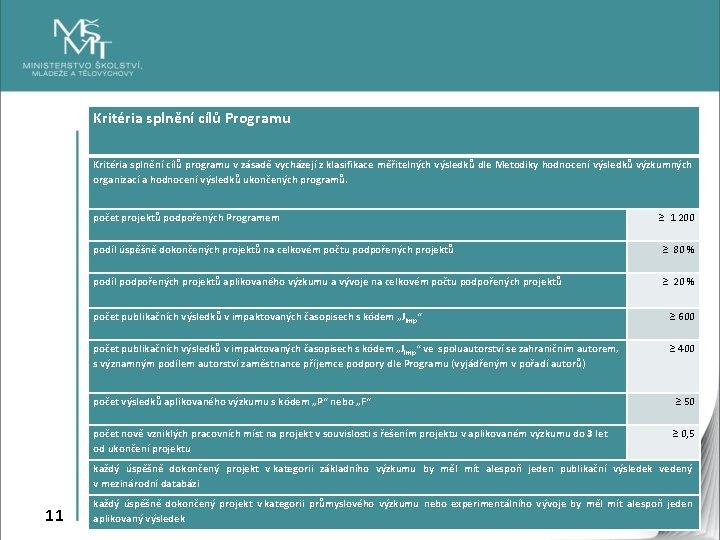 Kritéria splnění cílů Programu Kritéria splnění cílů programu v zásadě vycházejí z klasifikace měřitelných