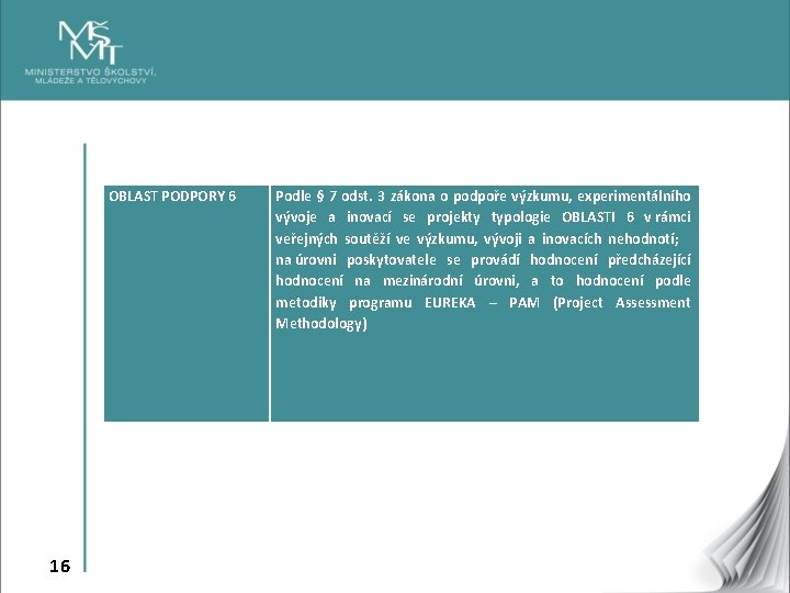 OBLAST PODPORY 6 Podle § 7 odst. 3 zákona o podpoře výzkumu, experimentálního vývoje