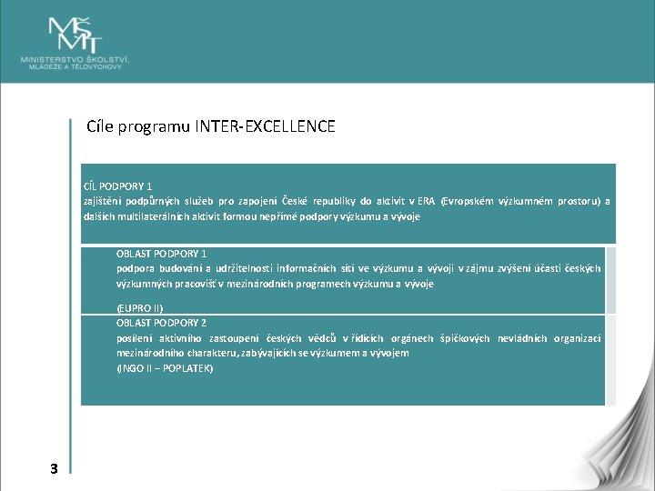 Cíle programu INTER-EXCELLENCE CÍL PODPORY 1 zajištění podpůrných služeb pro zapojení České republiky do