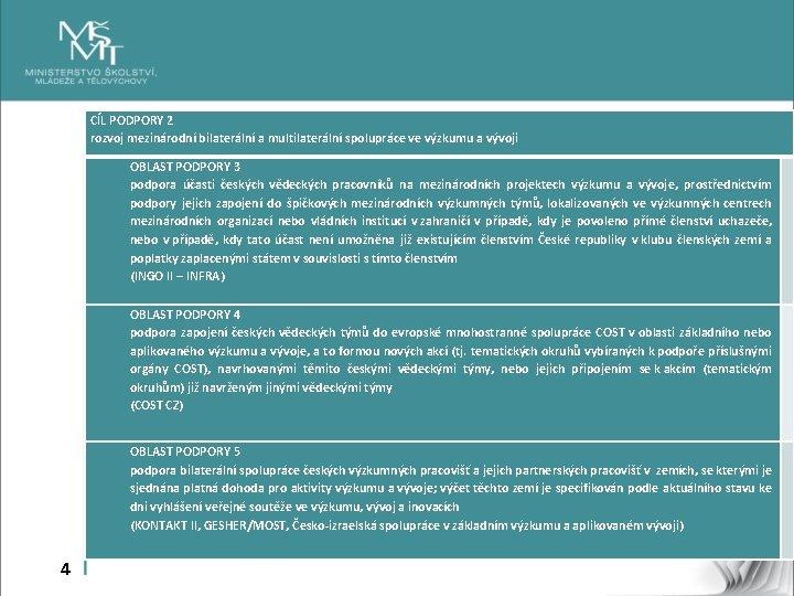 CÍL PODPORY 2 rozvoj mezinárodní bilaterální a multilaterální spolupráce ve výzkumu a vývoji OBLAST