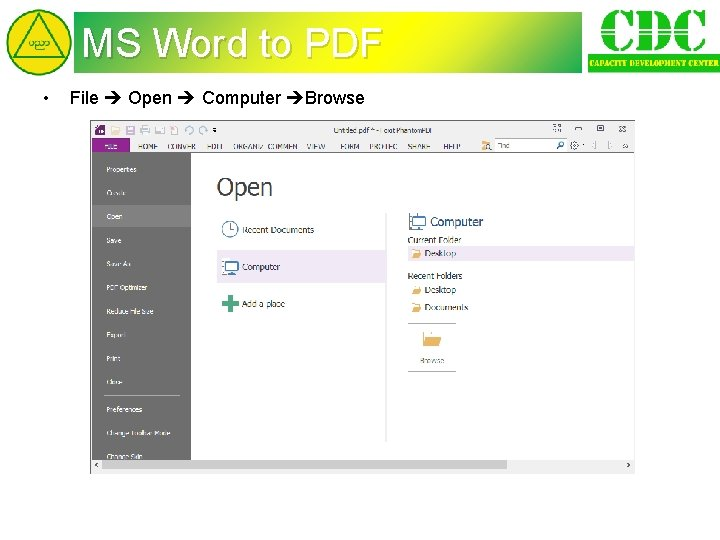 MS Word to PDF • File Open Computer Browse