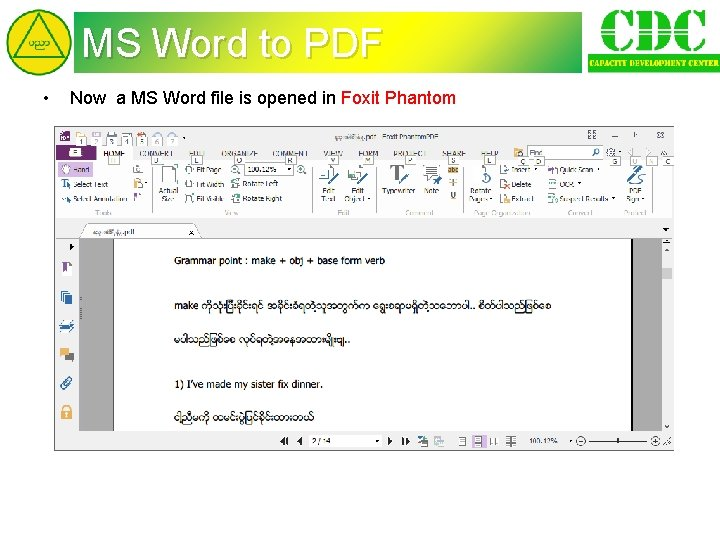 MS Word to PDF • Now a MS Word file is opened in Foxit