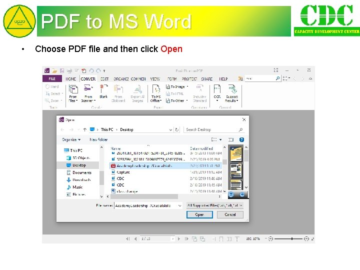 PDF to MS Word • Choose PDF file and then click Open