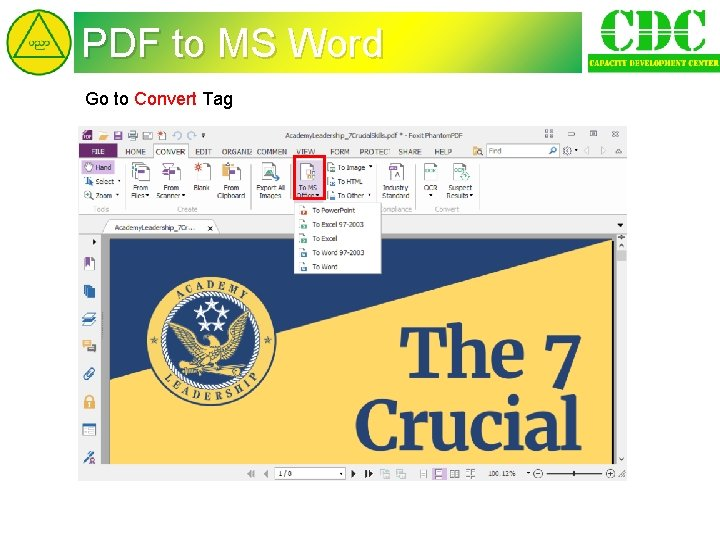 PDF to MS Word Go to Convert Tag